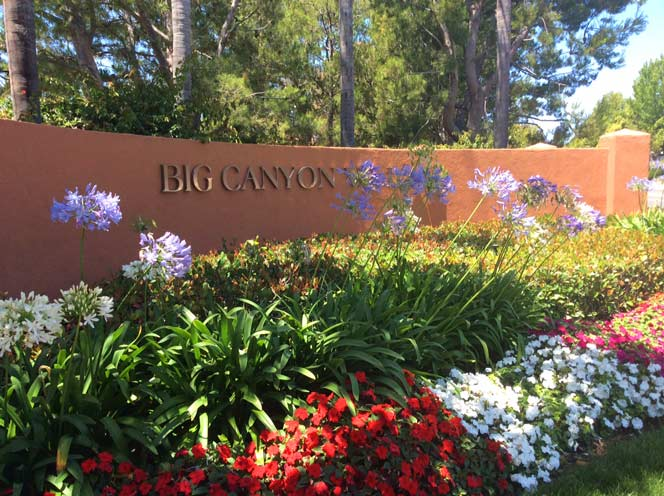 Big Canyon Villas Community Sign in Newport Beach, California