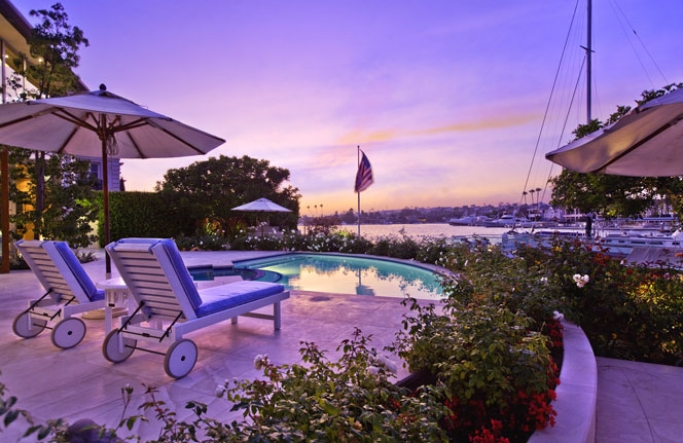 Harbor Island Newport Beach Home at Sunset